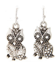"""resell for 18.00 or more ** Antique Silver Tone / Lead&nickel Compliant / Metal / Owl Dangle / Fish Hook Earring Set  • DROP LENGTH : 1 1/4""""  • A.SILVER  Style #SMOE091917g"""