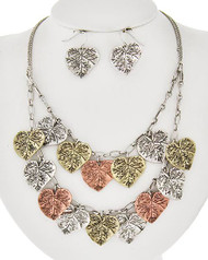 "resell for 45.00 or more  Burnished Tri Tone / Lead&nickel Compliant / Metal / Fish Hook (earrings) / Leaf Charm / Multi Row / Necklace & Earring Set  •   LENGTH : 16"" + EXT •   EARRING : 1 /4"" X 7/8"" •   DROP : 2 3/4""  •   BURN.MULTI  Style #BTTLNS091917g"
