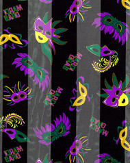 resell for 18.00 or more  Black / 100% Polyester / 13x60 Satin Stripe: Mardi-gras / Mask Print Oblong Size Scarves Mardi Gras /  Style #MGS092017g