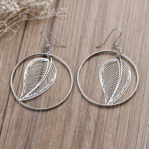 """resell for 12.00 or more  Filigree Stamping Earrings Round Silver Tone Leaf Hollow 62mm(2 4/8"""") x 43mm(1 6/8"""") style #SLHE092117g"""