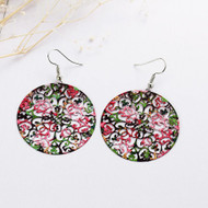 "resell for 12.00 or more Filigree Stamping Earrings Round Flower Hollow Multicolor Enamel 58mm(2 2/8"") x 40mm(1 5/8"") Style #MHLLE092117g"
