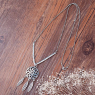 "resell for 15.00 or more Fashion Necklace Ball Chain Antique Silver V-shaped Dreamcatcher Pendant 55.0cm(21 5/8"") long Style #DCN092117g"