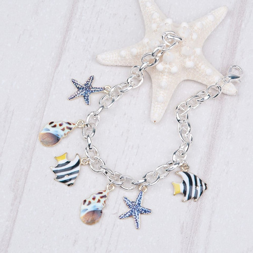 """resell for 12.00 or more Ocean Jewelry New Fashion Clip on Charms Bracelets Link Cable Chain Silver Plated Multicolor Marine Animal Pattern 20.2cm(8"""") long Style #SLB092117g"""