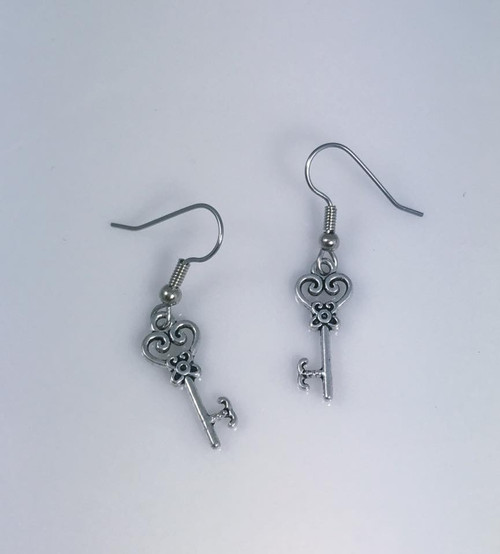 Resell for 5.00 or more Pewter key Surgical steel ear wires Style #PKE092317g