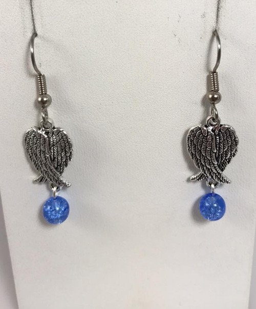 Resell for 6.00 or more Pewter angel wing Blue crackled glass  Surgical steel ear wires  Style #AWEB092617g