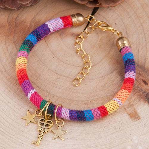 "resell for 9.00 or more Boho Chic Classic Braided Friendship Bracelets Multicolor Gold Tone Antique Gold Heart Pentagram Star Key 18cm(7 1/8"") long plus ext Style #FBHK092817g"