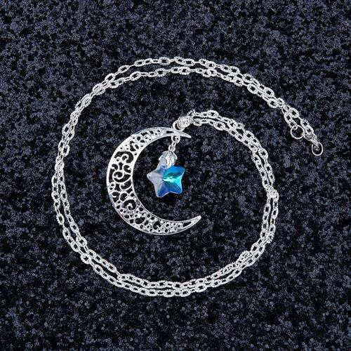 "resell for 12.00 or more Glass AB Color Star Half Moon Necklace Textured Link Cable Chain Silver Plated Hollow Carved 62.5cm(24 5/8"") long Style #CMCSN092817g"