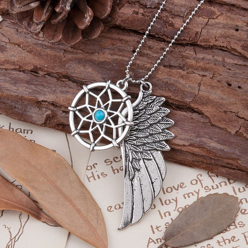 "resell for 9.00 or more Copper Necklace Ball Chain Silver Tone Blue Dream Catcher Angel Wing 60cm(23 5/8"") long Style #DCWN092717g"