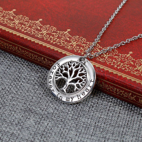 "resell for 12.00 or more Family Jewelry Necklace Antique Silver Round Tree Message "" Forever In My Heart "" 51.5cm(20 2/8"") long Style #FIMHN100317g"