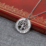"""resell for 12.00 or more Family Jewelry Necklace Antique Silver Round Tree Message """" Forever In My Heart """" 51.5cm(20 2/8"""") long Style #FIMHN100317g"""