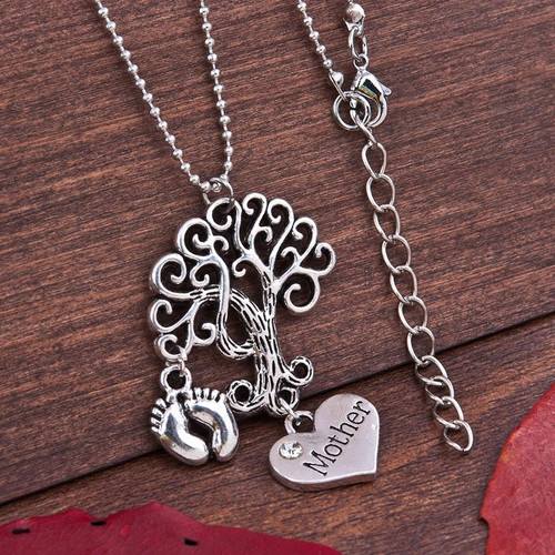 """resell for 12.00 or more Family Jewelry Necklace Antique Silver Tone, Tree, Feet Message """" Mother """" Clear Rhinestone 52.5cm(20 5/8"""") long, plus ext Style #MTFN100417g"""