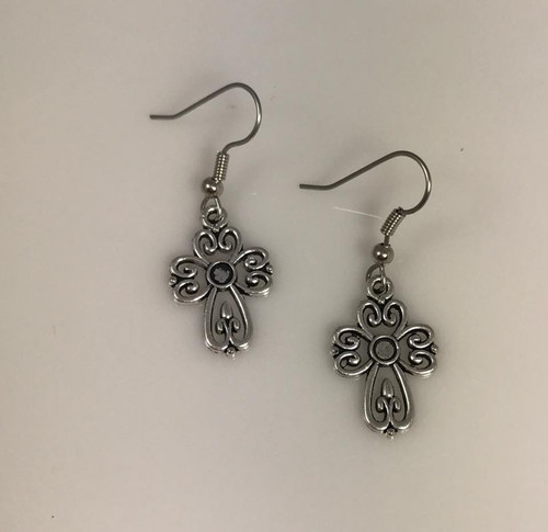 Resell for 5.00 or more Pewter cross  Surgical steel ear wires Style# OPCE100817g