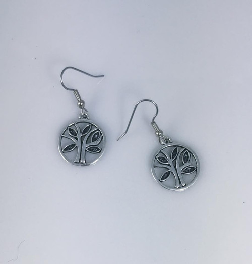 Resell for 5.00 or more Pewter artsy tree of life Surgical steel ear wires Style #ATLE101017g