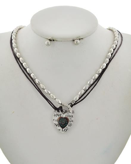 "resell for 30.00 or more Antique Burnished Silver Tone / Black Cord / Lead Compliant / Metal / Post (earrings) / Multi Strand / Valentine's Day / Heart W/love / Pendant / Necklace & Earring Set Style #HMN101117g  •   LENGTH : 17"" + EXT •   PENDANT : 1"" X 1 1/4"" •   EARRING : 1/4"" DIA  •   B.SILVER"
