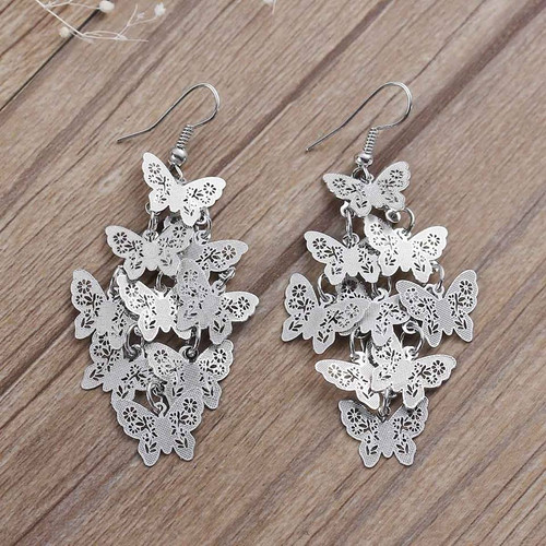 """resell for 12.00 or more Earrings Butterfly Silver Tone Hollow 70mm(2 6/8"""") Style #LLTBE101417g"""