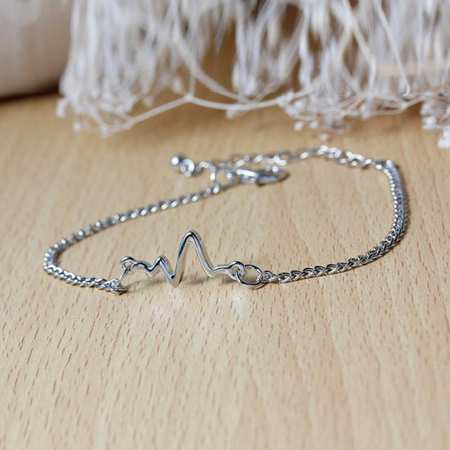 "resell for 6.00 or more Fashion Bracelets Link Curb Chain Silver Tone Heartbeat /Electrocardiogram 18cm(7 1/8"") long Style #ECB101417g"