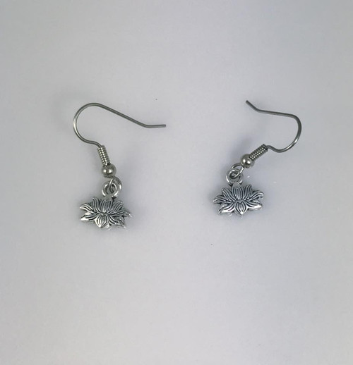 Resell for 5.00 or more Pewter lotus flower Surgical steel ear wires Style #TLFE101517g