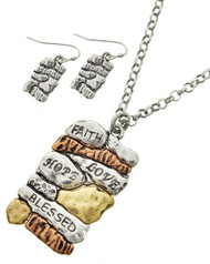 """resell for 45.00 or more Style #FLHBNS101717g Tri-tone / Lead&nickel Compliant / Metal / Fish Hook (earrings) / Pendant / Message / Necklace & Earring Set  •   LENGTH : 17"""" + EXT •   PENDANT : 1 1/2"""" X 1 7/8"""" •   EARRING : 1/2"""" X 1""""  •   MULTI"""