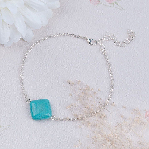 "resell for 12.00 or more Anklet Link Cable Chain Silver Plated Green Blue Turquoise Magnesite Rhombus 20.5cm(8 1/8"") plus ext Style #TMA101917g"