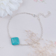 """resell for 12.00 or more Anklet Link Cable Chain Silver Plated Green Blue Turquoise Magnesite Rhombus 20.5cm(8 1/8"""") plus ext Style #TMA101917g"""