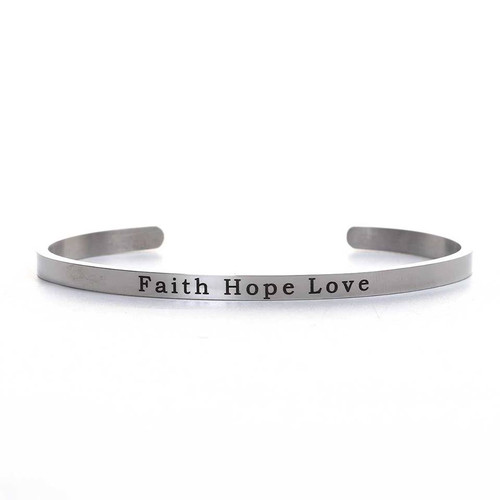 "resell for 18.00 or more 304 Stainless Steel Positive Quotes Energy Open Cuff Bangles Bracelets Silver Tone Message "" Faith Hope Love "" 17cm(6 6/8"") long Style #FHLCB102017g"