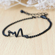 "resell for 7.00 or more Fashion Bracelets Link Curb Chain Black Painting Heartbeat /Electrocardiogram 17cm(6 6/8"") long plus ext Style #BEB102617g"
