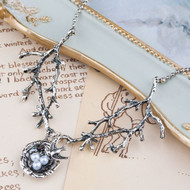 """resell for 12.00 or more Antique Silver & Silver Tone Swallow Bird Nest Branch White Acrylic Imitation Pearl 70.5cm(27 6/8"""") long Style #BNN102617g"""