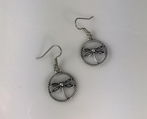 Resell for 7.00 or more Pewter dragonfly Surgical steel ear wires Style #DFDE103017g