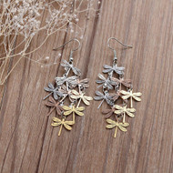 "resell for 12.00 or more Copper Filigree Stamping Earrings Dragonfly Animal Silver Tone Gold Plated Rose Gold Hollow 7.6cm(3"") long Style #DLLE110217g"