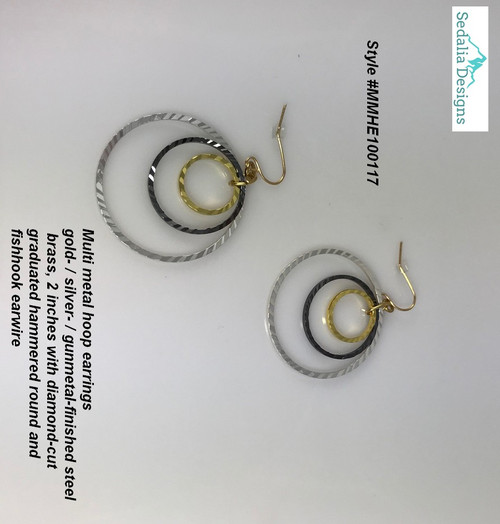 Triple hoops of hammered gold, silver, & gunmetal finished brass  Hypo-allergenic fish hook earwires