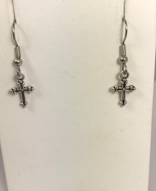 Resell for 5.00 or more Pewter tiny cross Surgical steel ear wires Style #TCE110717g