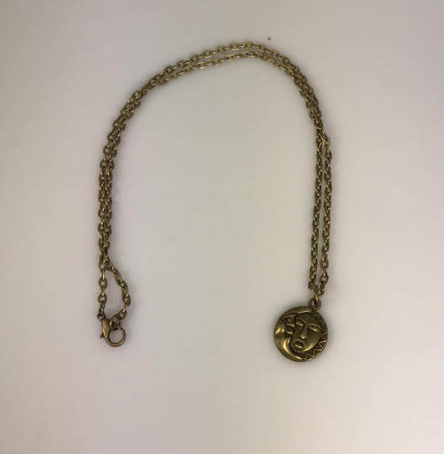 Resell for 12.00 or more 18 inch antiqued brass chain Moon sun charm pendant Style #MSBN110717g