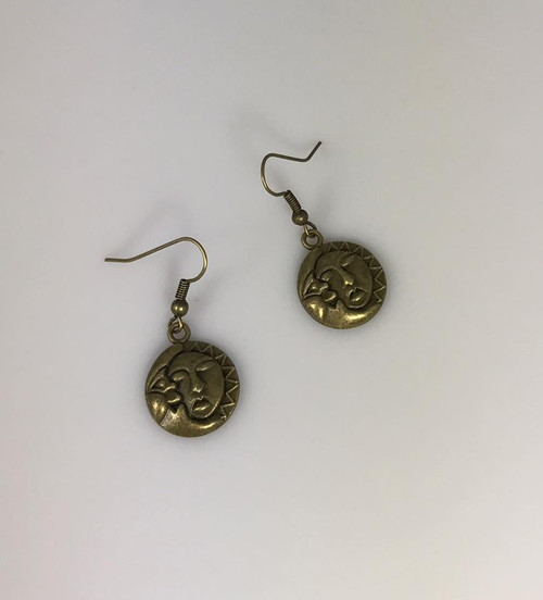 Resell for 5.00 or more Antiqued brass moon sun  Steel earwires Style #BMSE110717g