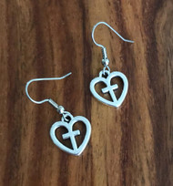 Resell for 5.00 or more Pewter heart cross Surgical steel ear wires Style #HCE110817g