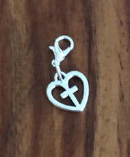 Resell for 6.00 or more Pewter heart cross Lobster clasp bauble Style #HCB110817g