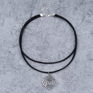 """resell for 9.00 or more Velvet Faux Suede Double Layer Yoga Healing Choker Necklace Silver Tone Black Muladhara /Mooladhara 34cm(13 3/8"""") long Style #MYHN110917g"""