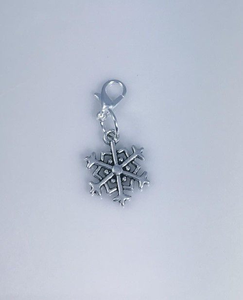 Resell for 6.00 or more Pewter snowflake  Lobster clasp bauble Style #SFB111117g