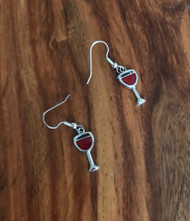 resell for 6.00 or more pewter enameled wine glass surgical steel earwires Style #WGE111317g