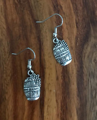 Resell for 6.00 or more Pewter wine barrel  Surgical steel ear wires Style #WBE111317g