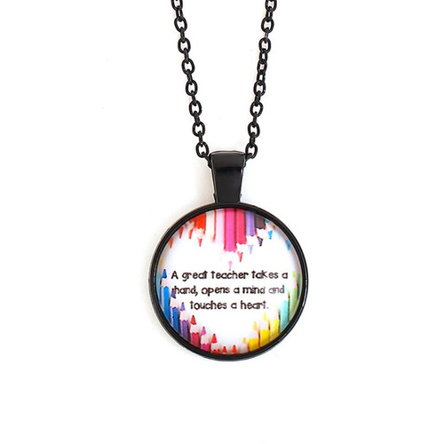 """A Great Teacher Takes a hand, opens a mind and touches a heart. Necklace Black Multicolor Round Message 46.5cm(18 2/8"""") long Style #AGTN111717g"""
