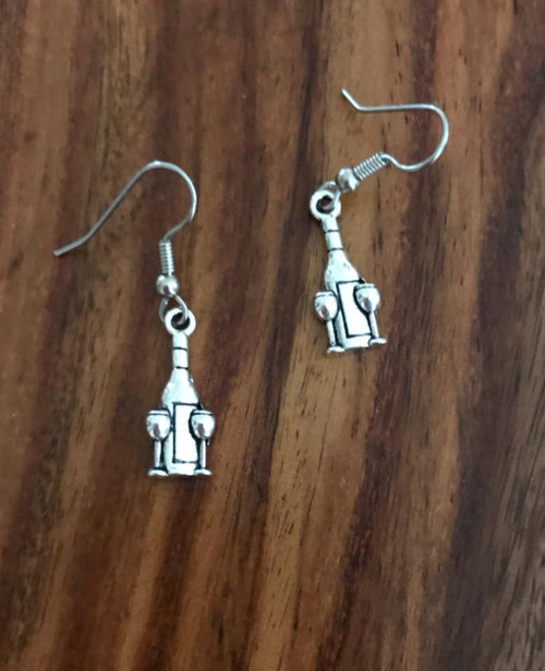Resell for 5.00 or more Pewter wine bottle with glasses  Surgical steel ear wires Style #WBE111717g
