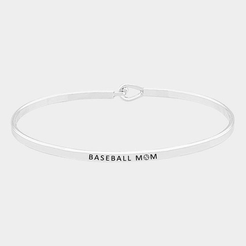 "resell for 27.00 or more • Color : Rhodium • Theme : Message, Sports  • Size : 3mm • ID : 60 mm X 45 mm (2.5"" D) • Material : Lead and nickel compliant • ""Baseball Mom"" Brass Thin Metal Hook Bracelet Style #BBM111917g"