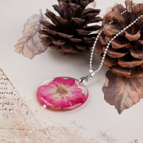 """resell for 12.00 or more Transparent Resin Dried Flower Necklace Ball Chain Silver Plated Fuchsia Round 45cm(17 6/8"""") long Style #PRFN112217g"""
