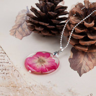 "resell for 12.00 or more Transparent Resin Dried Flower Necklace Ball Chain Silver Plated Fuchsia Round 45cm(17 6/8"") long Style #PRFN112217g"