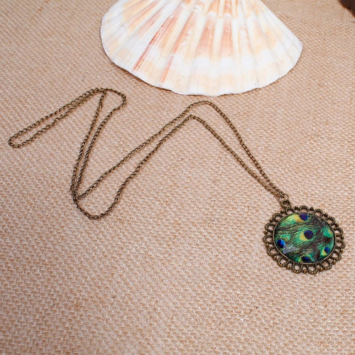 """resell for 9.00 or more Necklace Antique Bronze Green Peacock Feather Round 70cm(27 4/8"""") long Style #BAPN112217g"""