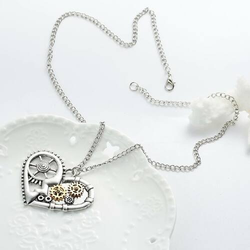 """resell for 15.00 or more Steampunk Necklace Link Curb Chain Antique Silver Heart Gear Hollow Pendant 57.0cm(22 4/8"""") long Style #SPHN112217g"""