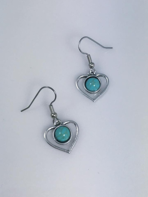 Resell for 12.00 or more Turquoise magnesite w pewter heart Surgical steel ear wires Style #THE112417g