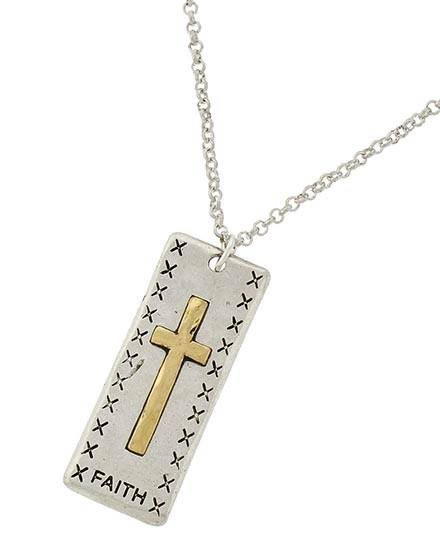 "resell for 27.00 or more Two-tone / Lead&nickel Compliant / Metal / Religious / Cross Pendant / Necklace  •   LENGTH : 18"" + EXT •   PENDANT : 1 1/2""  •   SILVER Style #TTFN112817g"