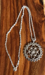 "Resell for 9.00 or more 20 inch silver tone chain Flower of life pendant 1 7/8"" round Style #FLPN112817g"