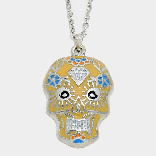 "resell for 27.00 or more • Color : Rhodium • Theme : Halloween  • NECKLACE : 16+2""L • PENDANT : 0.75"" X 1.25"" • DAY OF THE DEAD SKULL PENDANT NECKLACE Style #DDYN112917g"